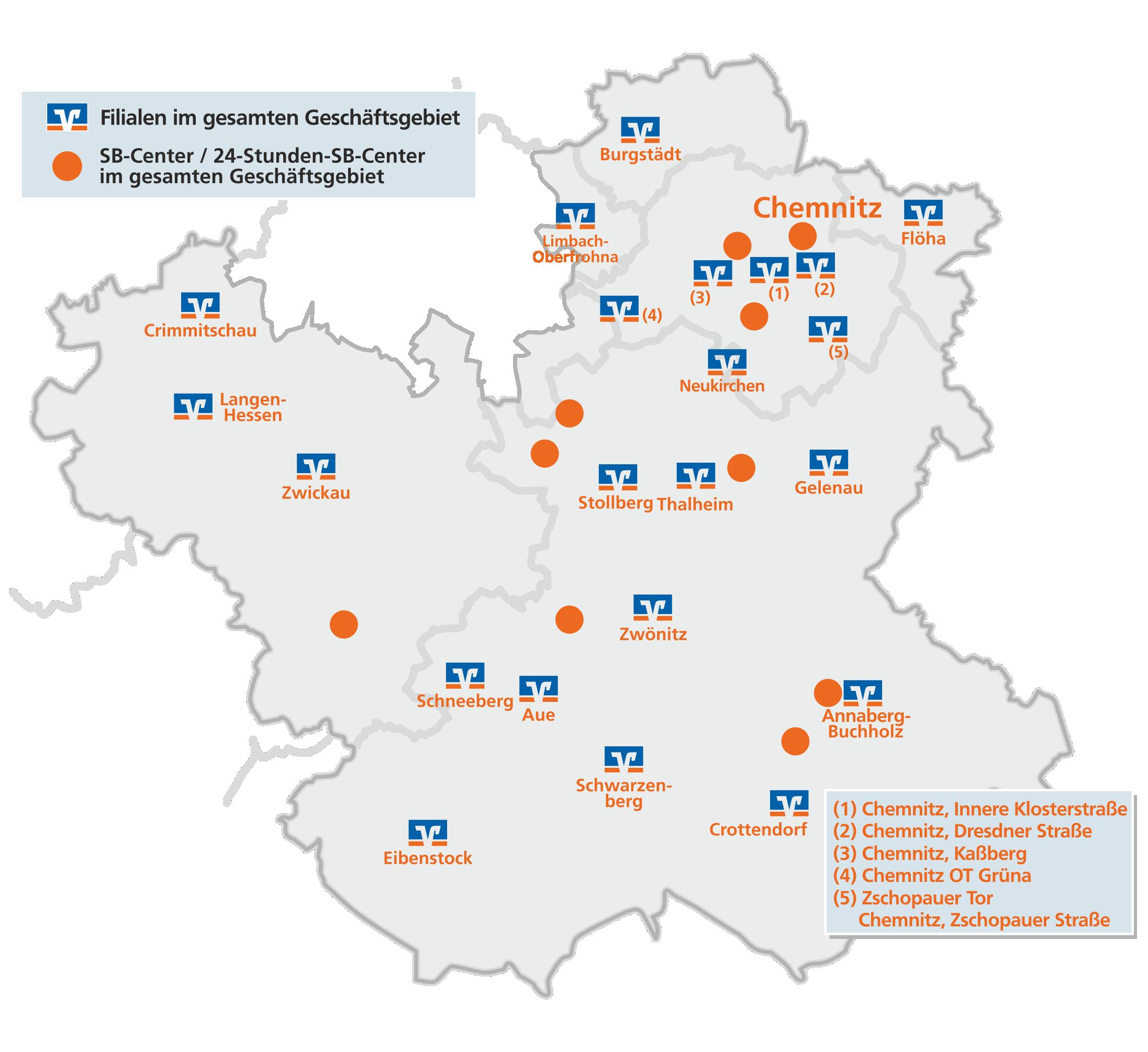 Karte Chemnitz Und Umgebung.Ubersicht Filialen Volksbank Chemnitz Eg